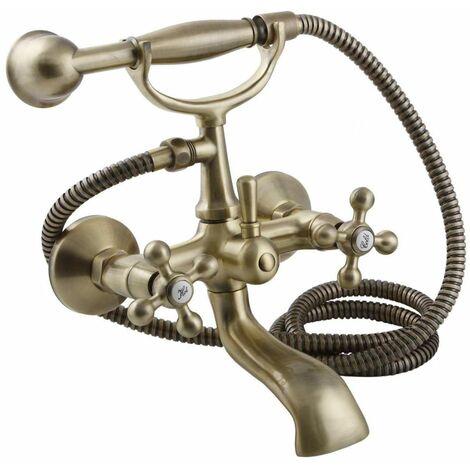 Robinet de bain élégant en laiton antique avec têtes rétro anciennes + poignée de douche