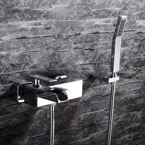 Robinet de bain mural Chromé Design Lignes courbes Bec court Plat avec Cascade