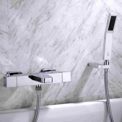 Robinet de bain mural Chromé Design Lignes rectilignes Bec court Plat