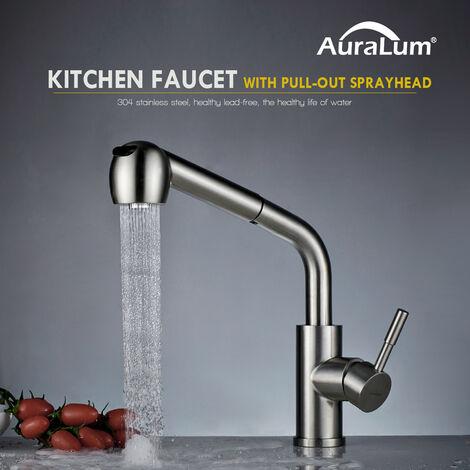 Robinet de Cuisine avec Douchette Attractif Extractible inox 304 Rotatif 360° Robinetterie Cuisine WC Salle de bain