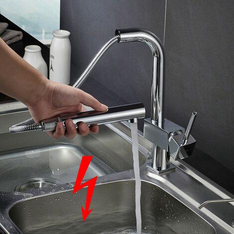 Robinet de cuisine basse pression Salle de bain Étirable avec douche escamotable évier Mitigeur de cuisine pivotant à 90 °