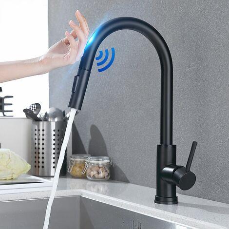 Robinet de cuisine en acier inoxydable à capteur tactile intelligent Rotation à 360 ° Noir
