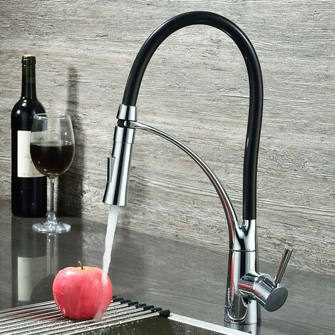 Robinet de cuisine mitigeur à bec rétractable et tuyau flexible en noir et chromé