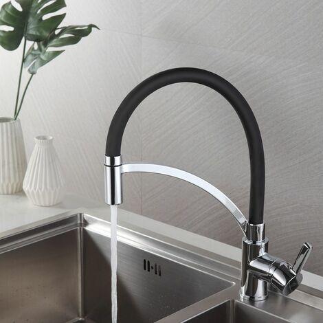 Robinet de cuisine Mitigeur de cuisine Noir Basse pression 2 en 1 Pivotant à 360° Robinetterie noir Évier Lavabo Vacque Salle de bain