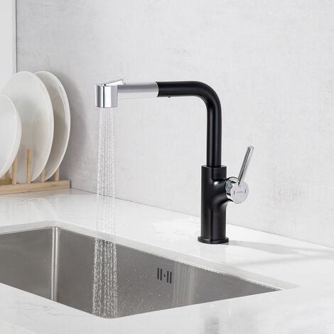 Robinet de Cuisine Noir LED Mitigeur de cuisine Pivotant à 360° 3 Couleurs Changeantes Robinetterie Évier en Acier Inox
