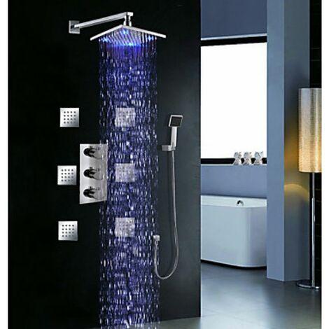 Robinet de douche à LED avec douchette de pluie, pommeau de douche et jets d'eau massant