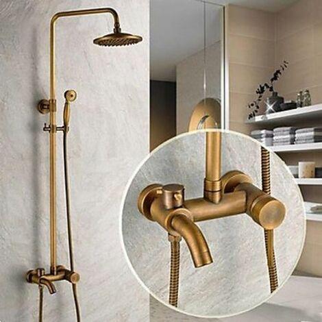 """Robinet de douche et baignoire antique avec tête de douche 8"""" + douche à main"""