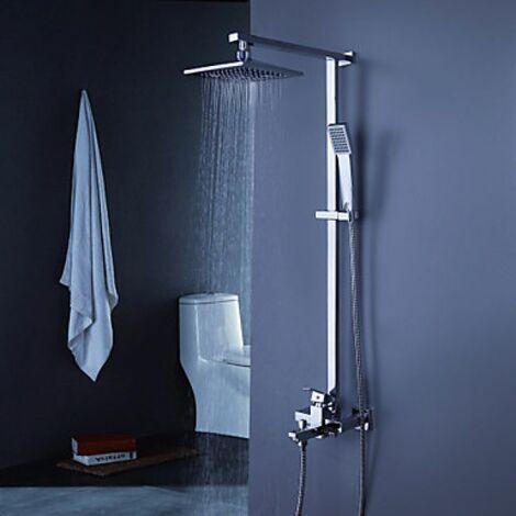 """Robinet de douche et baignoire contemporain avec pomme de douche 8"""" + douchette à main"""