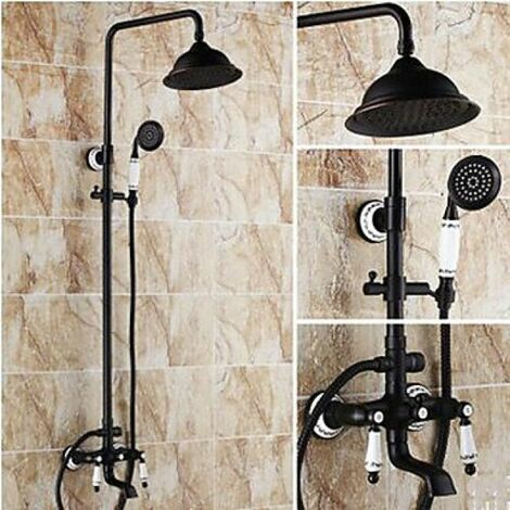 Robinet de douche et baignoire mural de style antique avec finition bronze huilé