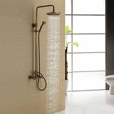 Robinet de douche style antique avec douchette de pluie et douchette à main