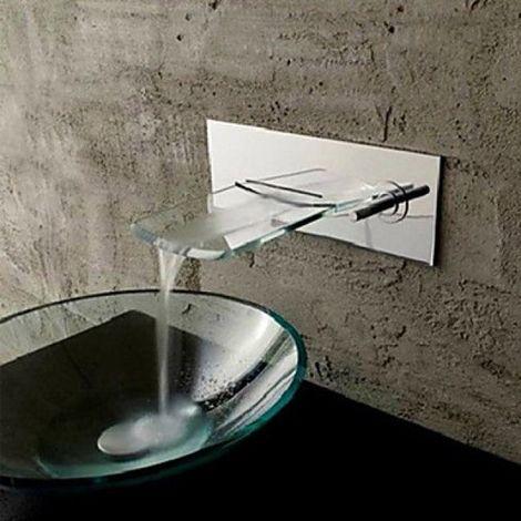 Robinet de lavabo à bec extra large en verre, style contemporain (montage mural)