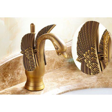 Robinet de lavabo à design en forme de cygne, finition antique brossé pour un style traditionnel
