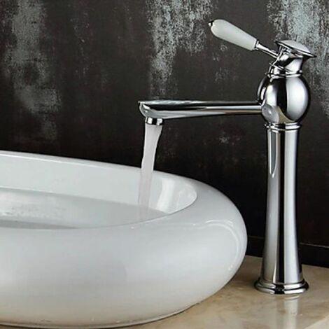 Robinet de lavabo à poignée unique, finition en chrome pour un style Européen