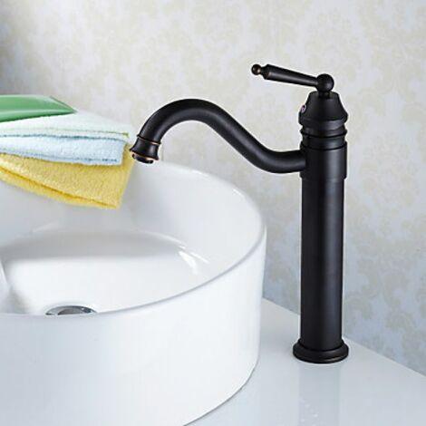 Robinet de lavabo antique à bec recourbé et poignée unique