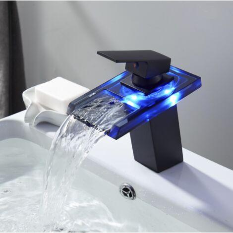 Robinet de lavabo avec lavabo LED robinet chaud et froid sortie cascade en cuivre noir
