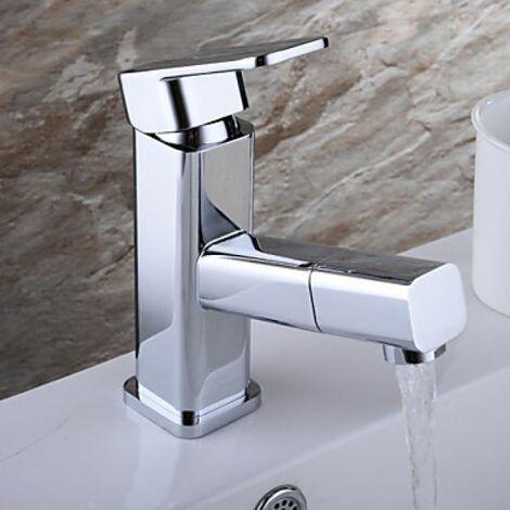 Robinet de lavabo bec détachable et extensible, finition en chromé pour un style moderne
