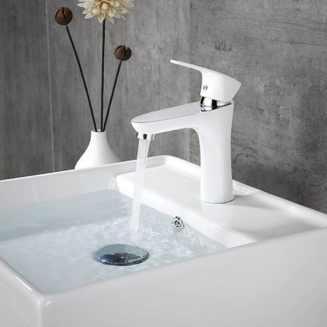 robinet de lavabo blanc laqu mitigeur vasque monotrou. Black Bedroom Furniture Sets. Home Design Ideas