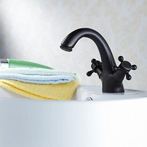 Robinet de lavabo noir muni de deux poignées, un style traditionnel avec finition en bronze huilé