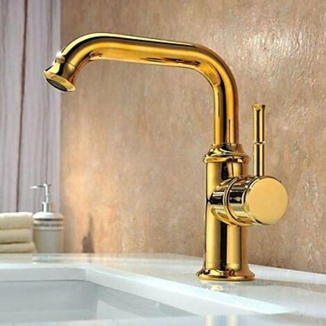 Robinet de lavabo dorée doté d'une poignée et fini en laiton, style contemporain