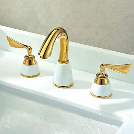 Robinet de lavabo double poignée, style contemporain et finition dorée (Ti-PVD)