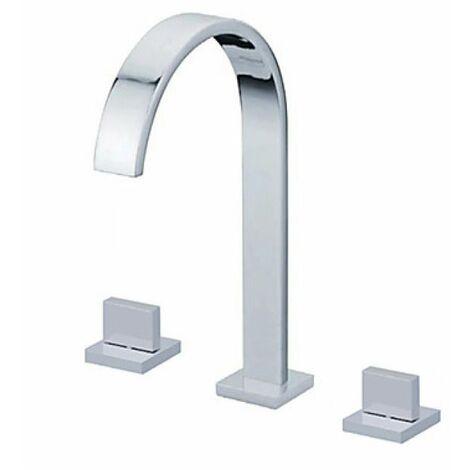 Robinet de lavabo (haut) double poignée, robinet de style contemporain fini en métal chromé