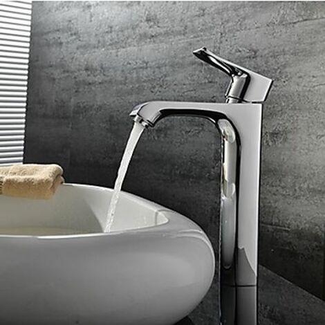 Robinet de lavabo (haut) unique poignée, robinet à design moderne fini en métal chromé