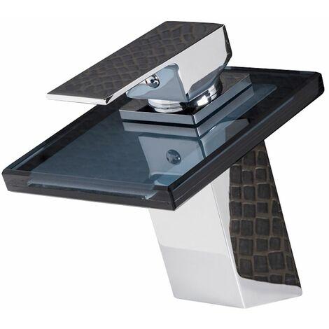 Robinet de lavabo new york noir mitigeur pour vasque robinet mitigeur design laque chrome en - Mitigeur noir salle de bain ...