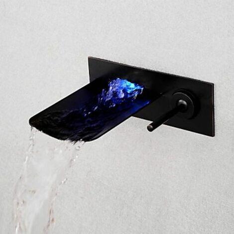 Robinet de lavabo noir à fixation murale, robinet à design moderne muni de poignée unique