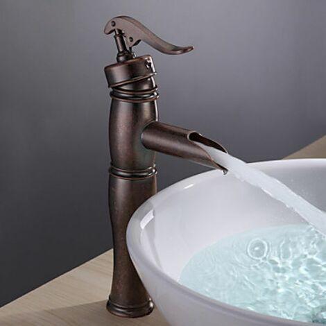 """main image of """"Robinet de lavabo poignée unique, style antique fini en cuivre"""""""