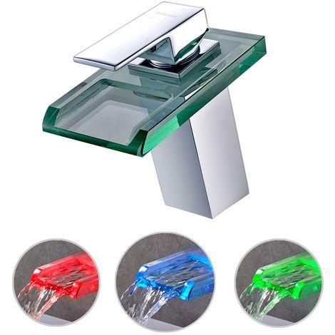 Robinet de salle de bain à LED RGB avec mitigeur de lavabo pour salle de bain et robinetterie de salle de bain Laiton robinetterie Robinet d'eau Température Changement de couleurs