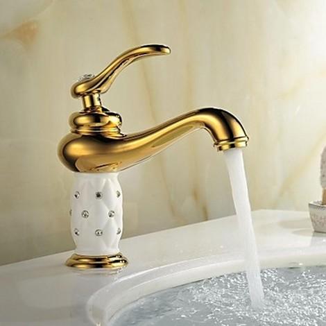 Robinet de salle de bain antique finition or- cristal ...
