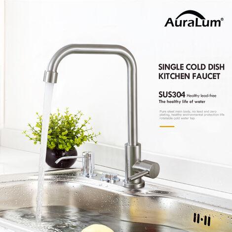 Robinet d'eau froide en acier inoxydable robinet de cuisine robinet d'évier UNIQUEMENT pour connexion d'eau froide