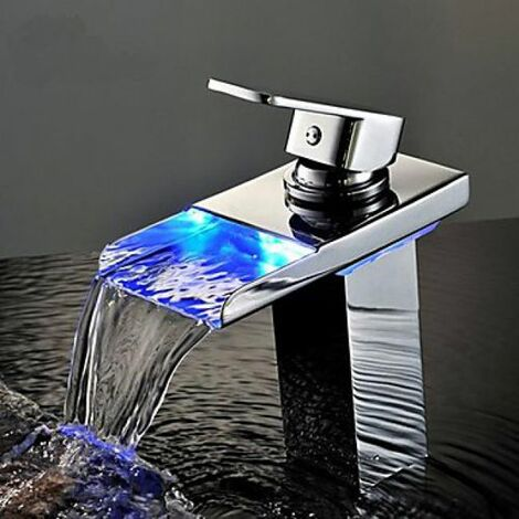 Robinet d'évier cascade LED, design contemporain, finition en chrome