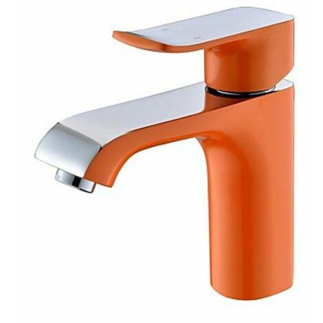 Robinet d'évier contemporain en orange, Robinet à poignée unique et à un seul trou d'installation