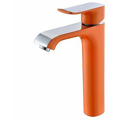 Robinet d'évier de style contemporain peint en orange, robinet à poignée unique muni de mitigeur