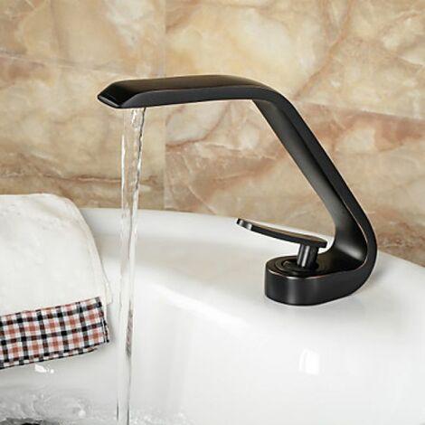 Robinet d'évier noir style contemporain, robinet à poignée unique fini en bronze huilé