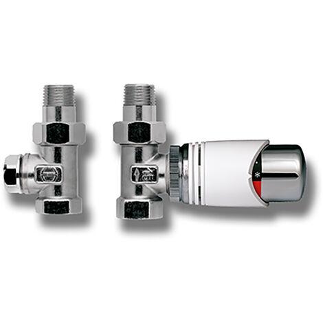 Robinet droit + tête thermostatique pour radiateur à eau chaude