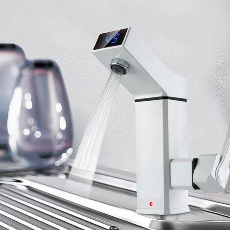 Robinet électrique 3000 W avec affichage de la température LED - Robinet de cuisine chaud instantané - Mitigeur de lavabo pour cuisine et salle de bain
