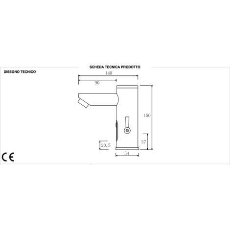 Robinet électronique noir mat avec mitigeur pour régler la température de l'eau RUELDA02N   Noir mat
