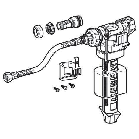 Robinet flotteur Geberit type 380, alimentation latérale, 3/8'' (12/17) avec adaptateur type 350 - Geberit
