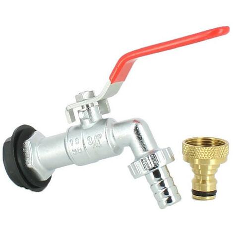 Robinet laiton chromé 15 mm + nez de robinet 20X27 laiton Collecteur Récupérateur d'Eau