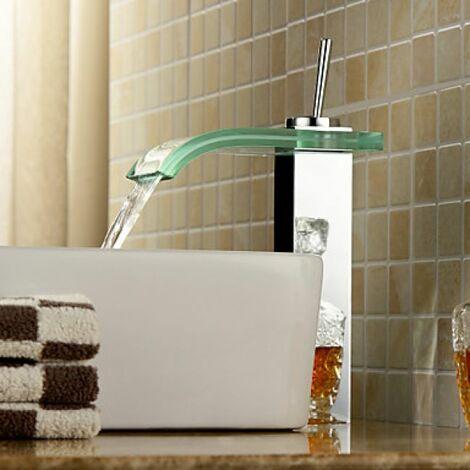 Robinet lavabo à bec en verre incurvé, avec jet à effet de cascade, design contemporain