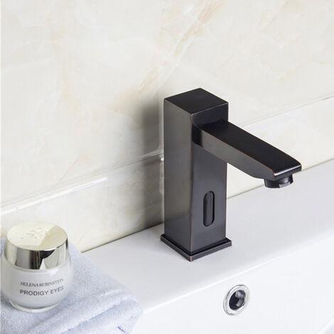Robinet lavabo à capteur automatique en laiton solide et noir antique