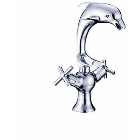 Robinet lavabo avec design en forme de dauphin, finition en métal chromée