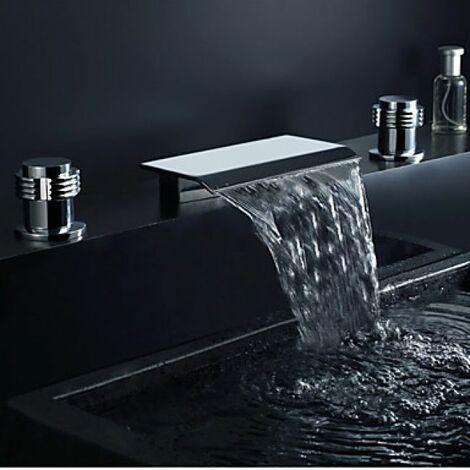 Robinet lavabo cascade à bec extra large, robinet à design contemporain (finition chromée)