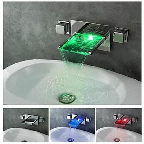 Robinet lavabo LED à fixation murale, style moderne avec chute en cascade