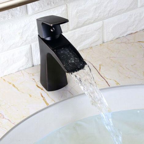 Robinet lavabo mitigeur contemporain avec bec en cascade en laiton massif
