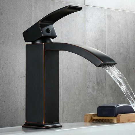 Robinet lavabo mitigeur moderne en noir antique