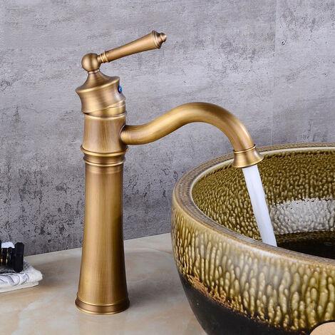 "main image of ""Robinet lavabo mitigeur style rétro en laiton solide"""