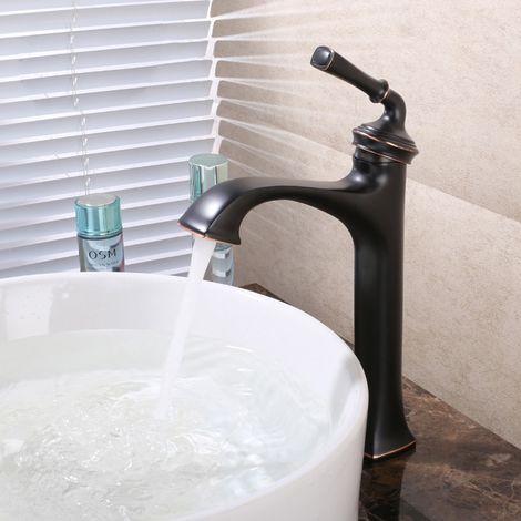 Robinet lavabo mitigeur style vintage en laiton solide